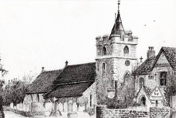 Etching Drawing - Brighstone Church by Vincent Alexander Booth