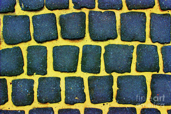 Photograph - Bright Blue And Yellow Cobblestone Abstract by Karen Adams
