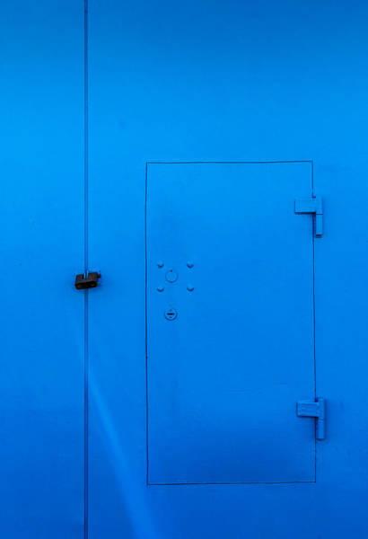 Photograph - Bright Blue Locked Door And Padlock by John Williams