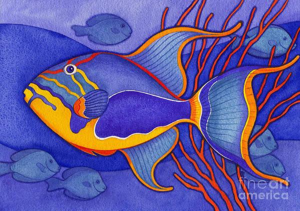 Bright Blue Triggerfish Art Print