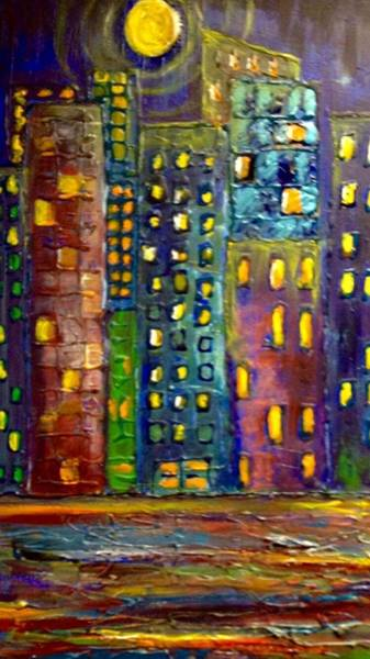 Painting - Bright City Night by Susan Hendrich
