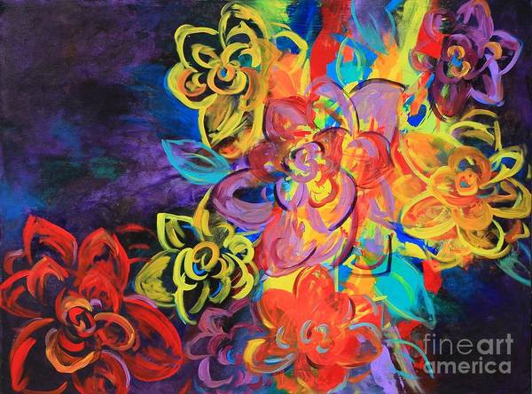 Bright Flowers Art Print by Sabra Chili