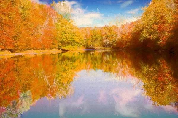 Digital Art - Bright Foliage Reflected In Shetucket River Eastern Ct. by Rusty R Smith