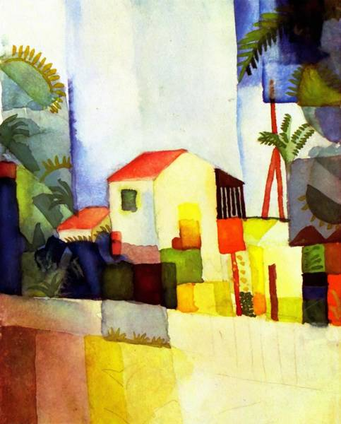 Painting - Bright House by August Macke