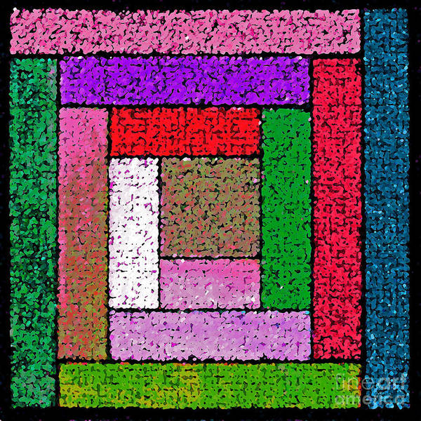 Photograph - Bright Log Cabin Quilt Square by Karen Adams