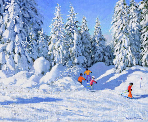 Shadow And Light Painting - Bright Morning And Snow Covered Trees, Morzine by Andrew Macara