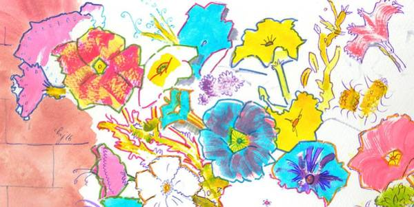 Painting - Bright Petunias Flowers Pattern by Mike Jory