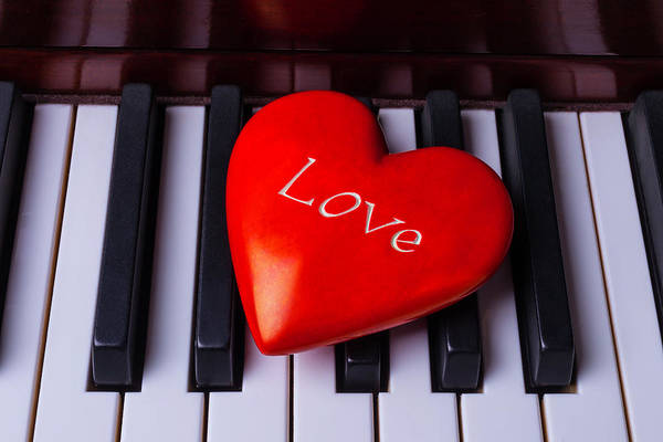 Wall Art - Photograph - Bright Red Heart On Piano Keys by Garry Gay