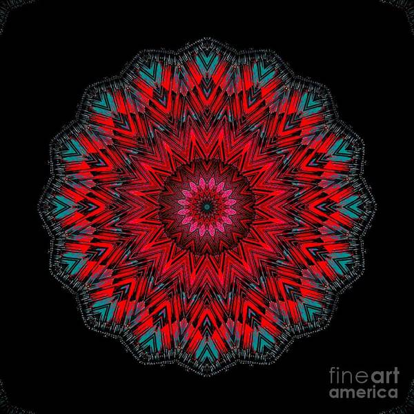 Digital Art - Bright Red With Blue Accent Mandala Design by Sheila Wenzel