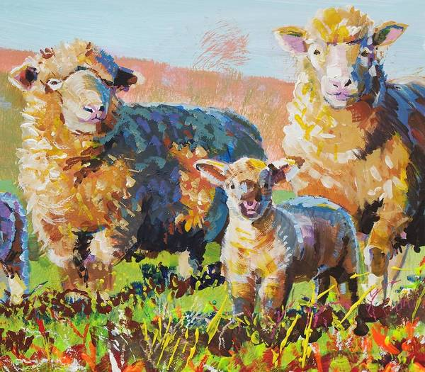 Painting - Bright Sheep And Lamb Painting by Mike Jory