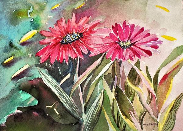 Annual Painting - Bright Spring Daisies by Mindy Newman