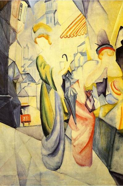 Painting - Bright Women In Front Of A Hat Shop by August Macke