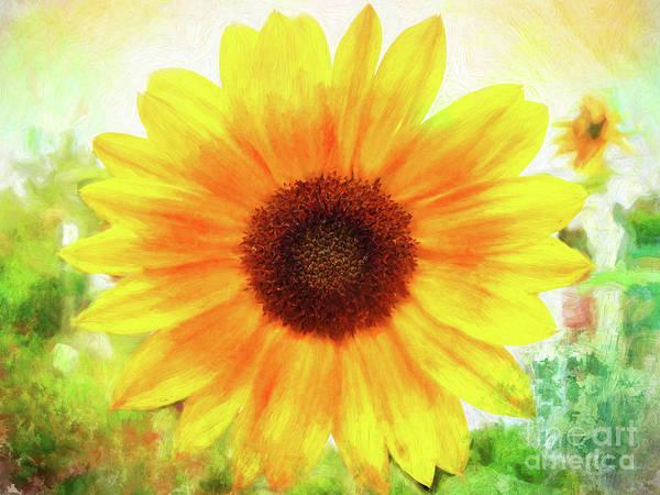 Bright Yellow Sunflower - Painted Summer Sunshine Art Print