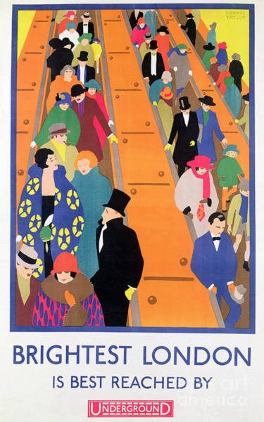 Crowd Painting - Brightest London Is Best Reached By Underground by Horace Taylor