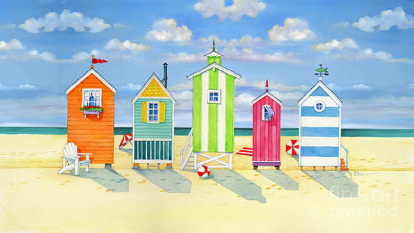 Brighton Painting - Brighton Beach Huts by Paul Brent