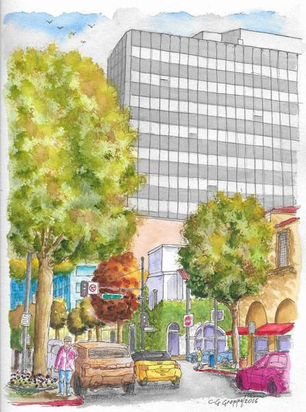 Brighton Painting - Brighton Way And Camden Dr. In Beverly Hills, California by Carlos G Groppa