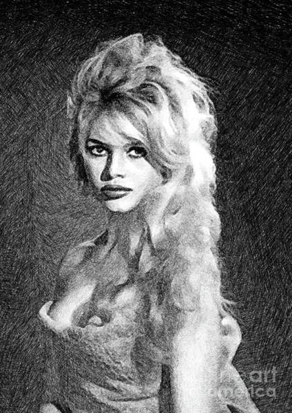 Pinewood Drawing - Brigitte Bardot, Actress By Js by John Springfield