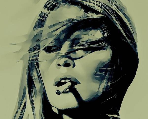 Wall Art - Mixed Media - Brigitte Bardot Smoking by Dan Sproul