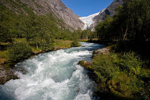 Photograph - Briksdal Glacier Melting Waters by Aivar Mikko