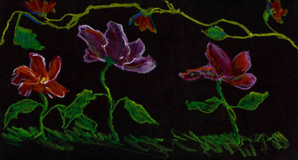 Painting - Brilliant Flowers On Black Hand Drawn by Lenora  De Lude