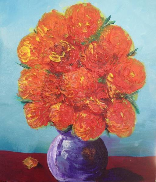 Flower Painting - Brilliant Orange Roses by Roxy Rich