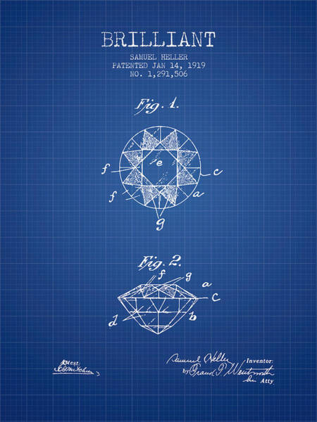 Wall Art - Digital Art - Brilliant Patent From 1919 - Blueprint by Aged Pixel