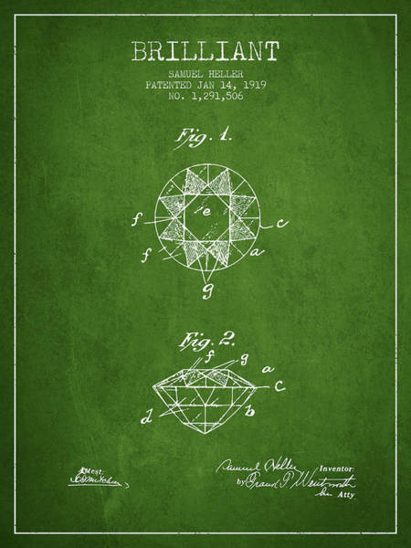 Wall Art - Digital Art - Brilliant Patent From 1919 - Green by Aged Pixel