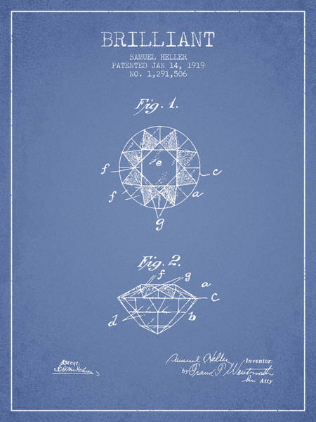 Wall Art - Digital Art - Brilliant Patent From 1919 - Light Blue by Aged Pixel