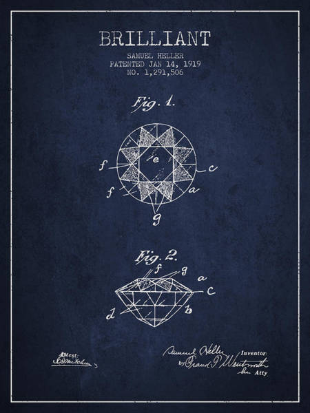 Wall Art - Digital Art - Brilliant Patent From 1919 - Navy Blue by Aged Pixel