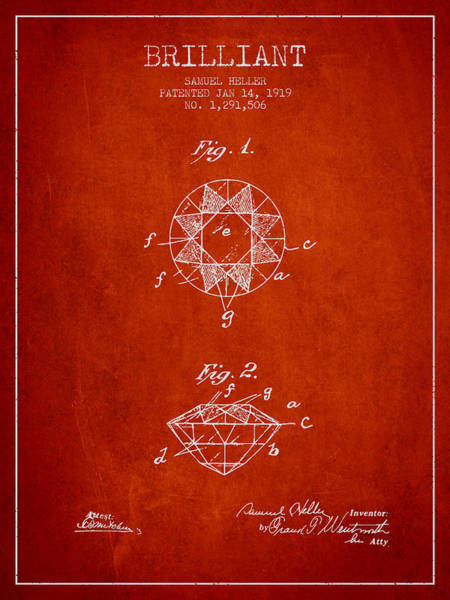 Wall Art - Digital Art - Brilliant Patent From 1919 - Red by Aged Pixel
