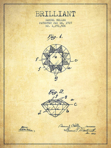 Wall Art - Digital Art - Brilliant Patent From 1919 - Vintage by Aged Pixel
