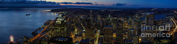 Pikes Place Photograph - Brilliant Seattle Skyline Panorama From Atop The Columbia Center by Mike Reid