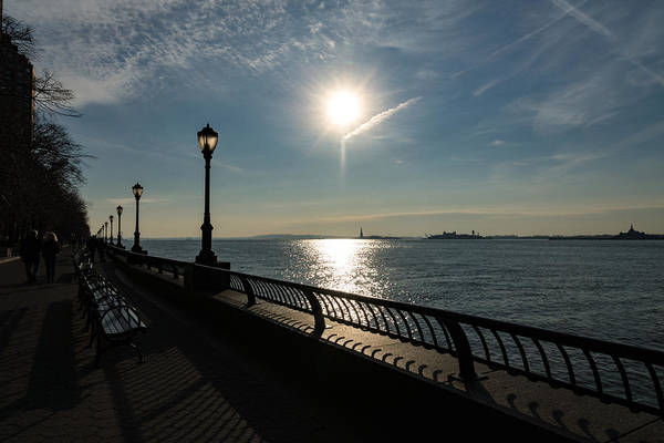 Photograph - Brilliant Sunny Walk On The Esplanade - Hudson River Manhattan New York City U S A by Georgia Mizuleva