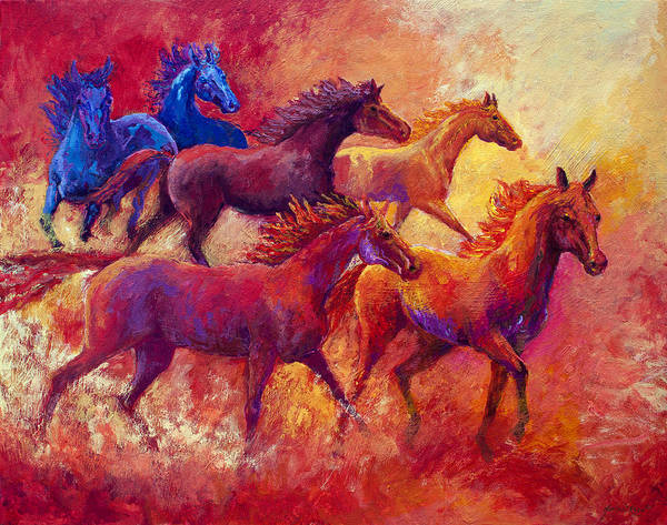 Wall Art - Painting - Bring The Mares Home by Marion Rose