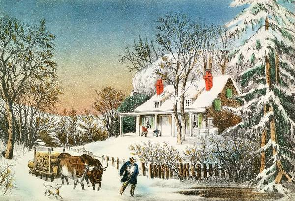 Wall Art - Painting - Bringing Home The Logs by Currier and Ives