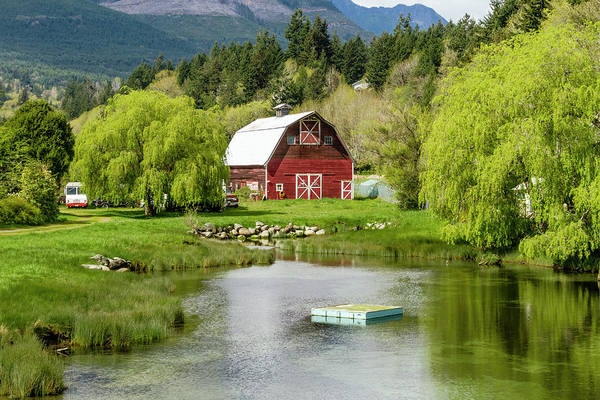 Photograph - Brinnon Washington Barn By Pond by Teri Virbickis