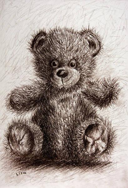Blue Parrot Drawing - Bristle Bear by Liza Gonen