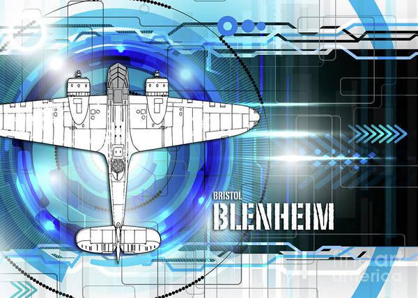 Blenheim Digital Art - Bristol Blenheim Blueprint by J Biggadike