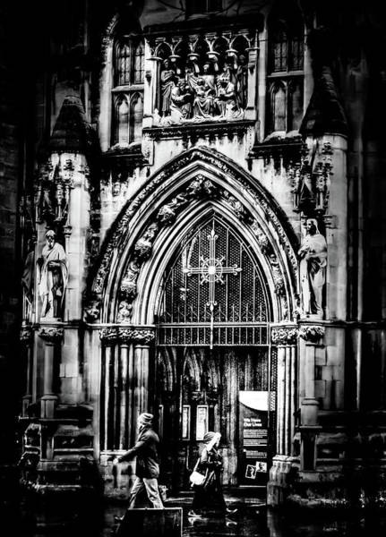 Photograph - Bristol Cathedral Entrance North Porch Bw by Jacek Wojnarowski
