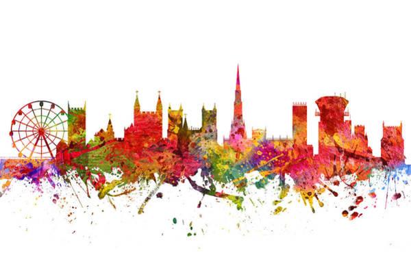 Bristol Wall Art - Digital Art - Bristol Cityscape 08 by Aged Pixel