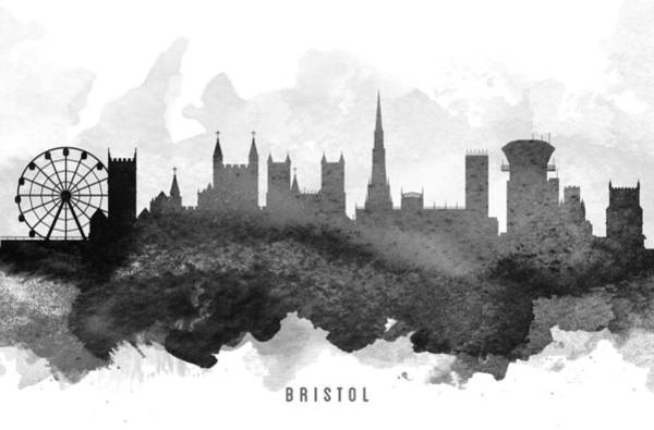 Bristol Wall Art - Painting - Bristol Cityscape 11 by Aged Pixel