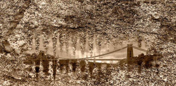Photograph - Bristol Clifton Suspension Bridge At Golden Hour Fine Art Sepia by Jacek Wojnarowski