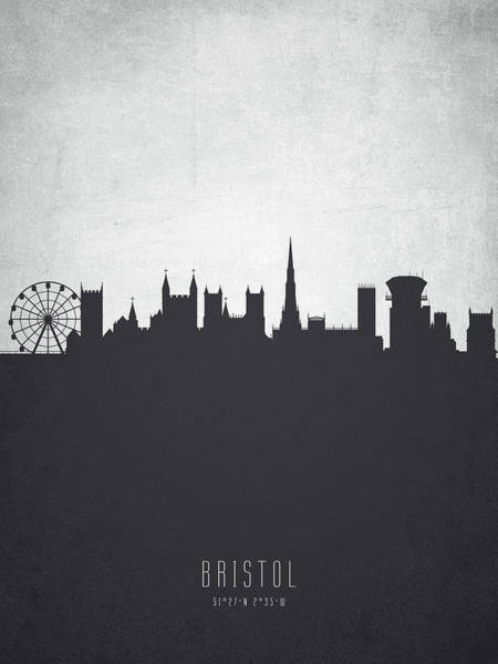 Bristol Wall Art - Painting - Bristol England Cityscape 19 by Aged Pixel