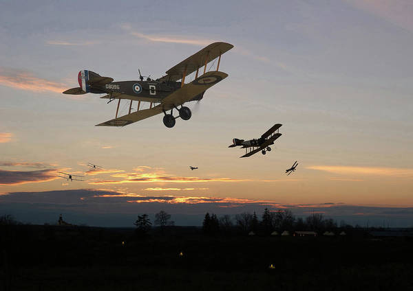 World War 1 Digital Art - Bristol F2b - Home Is The Hunter by Pat Speirs