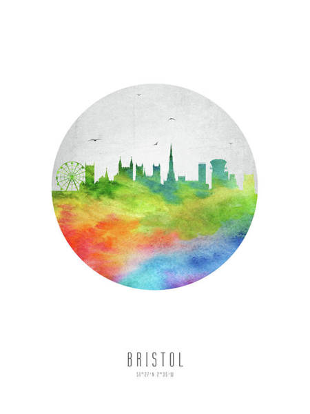 Bristol Wall Art - Digital Art - Bristol Skyline Gbbr20 by Aged Pixel