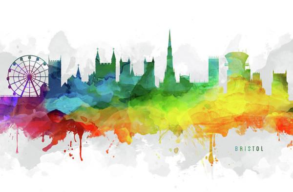Bristol Wall Art - Digital Art - Bristol Skyline Mmr-gbbr05 by Aged Pixel