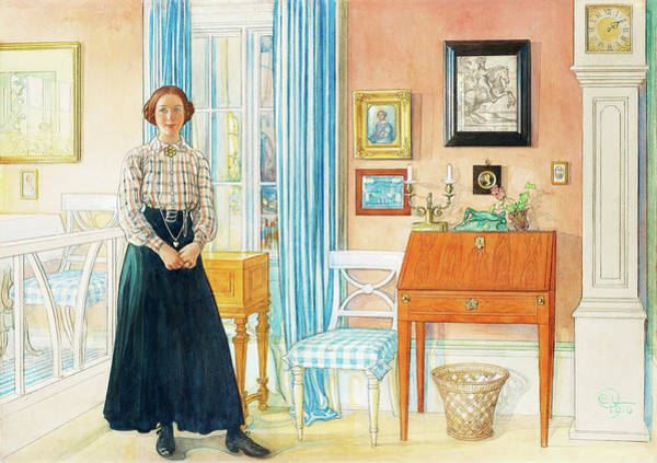 Grandfather Clock Painting - Brita In The Drawing Room by Carl Larsson