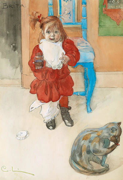 Painting - Brita With Confectionary Jar by Carl Larsson