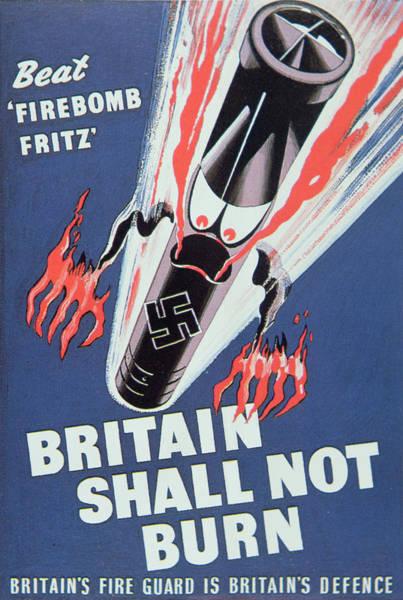 Luftwaffe Wall Art - Painting - Britain Shall Not Burn by English School