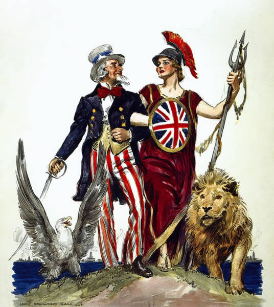 Wall Art - Photograph - Britannia And Uncle Sam - Friends And Allies  1918 by Daniel Hagerman